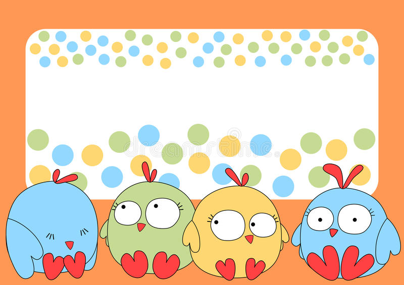 Little chicks greeting card. Invitation or greeting card with little chicks, a frame and dots with space to write a message royalty free illustration