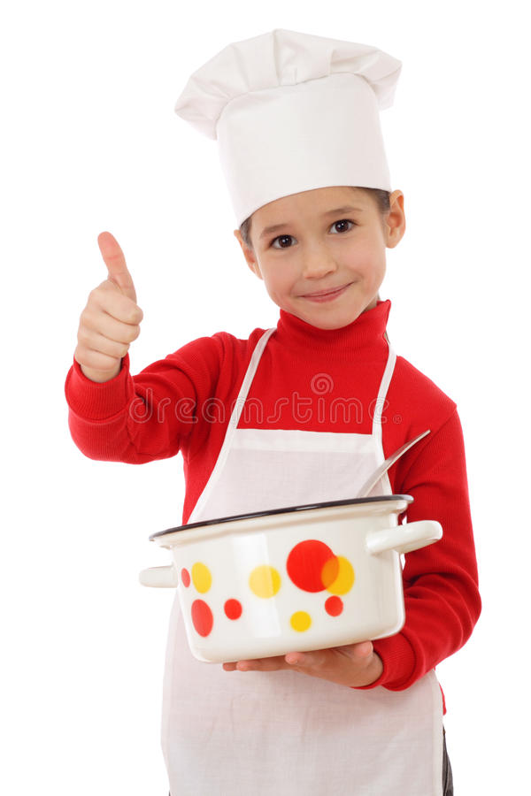 Little chief-cooker with thumbs up and pot royalty free stock photo