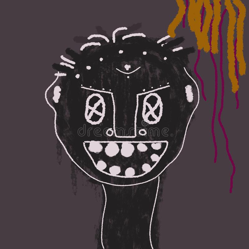Little child abstract art of Basquiat royalty free stock image