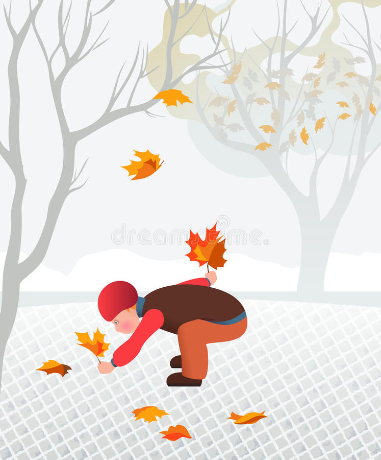Little child collecting fallen leaves royalty free illustration