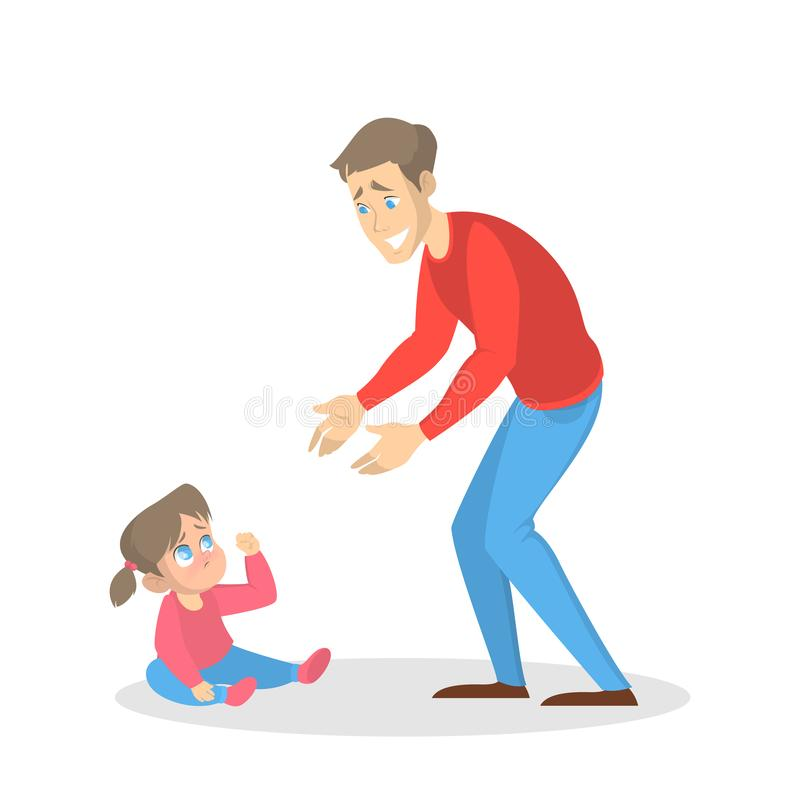 Little child cry and woman try to calm stock illustration