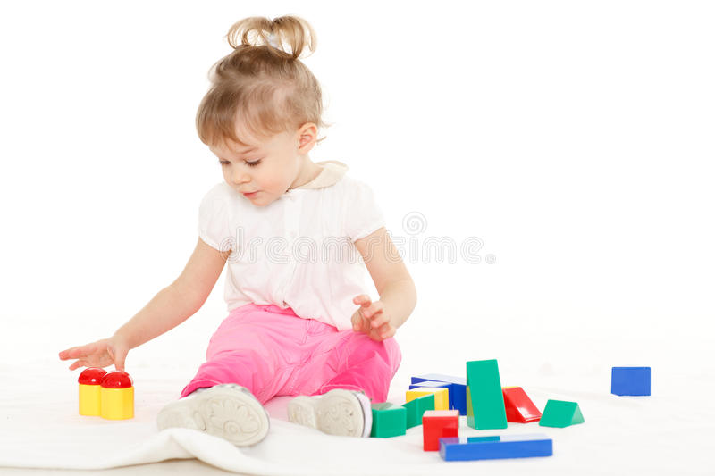 Little Child With Educational Toys. Royalty Free Stock Images