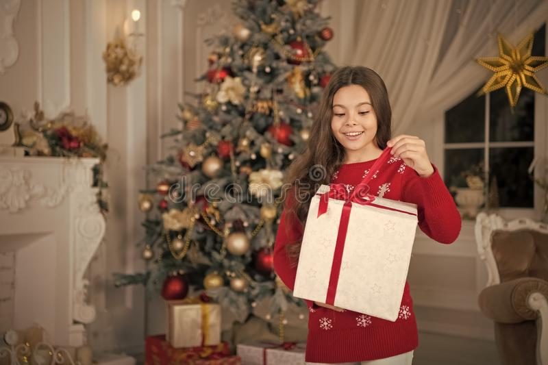 Little child girl likes xmas present. The morning before Xmas. New year holiday. Christmas. Kid enjoy the holiday. Happy. New year. small happy girl at stock photos