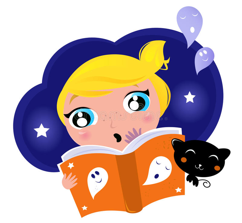 Little child has fear when reading story.