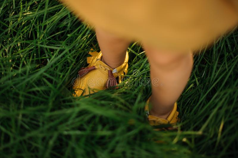Child legs wearing yellow shoes on a green grass background. Little child legs wearing cute and trendy yellow shoes on a fresh green grass background royalty free stock images