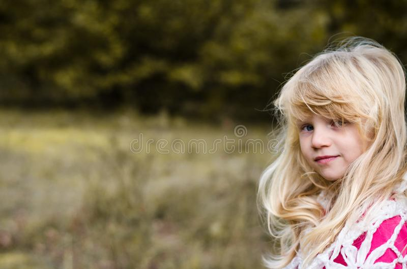 Little child  with long blond hair portrait stock photos