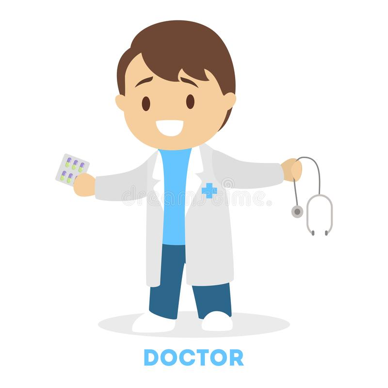 Little child playing as a doctor. Kid in white stock illustration