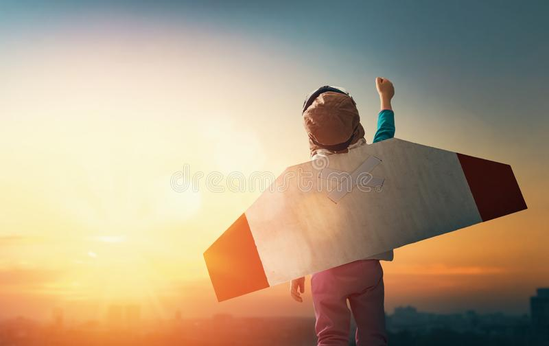 Child is playing pilot royalty free stock images