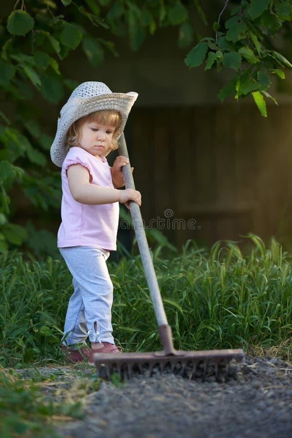 Little child raking up soil and preparing for planting stock photos