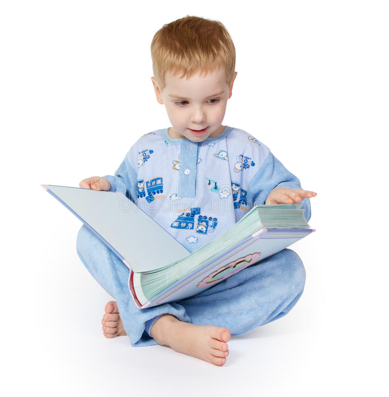 Download Little Child Reading Big Book. Stock Image - Image: 17850303
