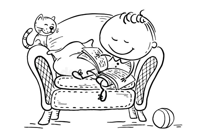 Little child reading a book in an arm-chair with his cat stock illustration