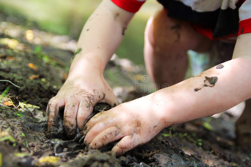 Little Child's Hands Digging in the Mud. The Dirty hands of a little boy child are digging in the wet mud outside by the river royalty free stock image