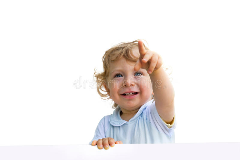 Little child showing up stock images