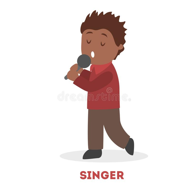 Little child sing a song holding microphone. Young. vector illustration