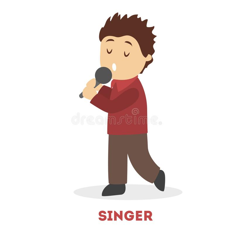Little child sing a song holding microphone. Young. stock illustration