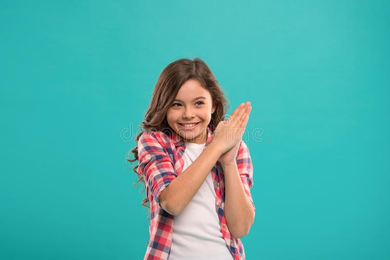 Little child smile excited with new idea stand over blue background. This is the point. Idea solution. Girl cute royalty free stock photo