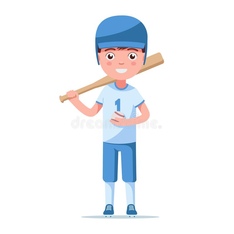 Little child is standing in baseball ammunition royalty free illustration