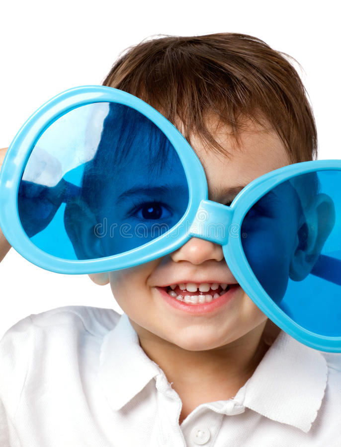 Little child with sunglasses stock photo