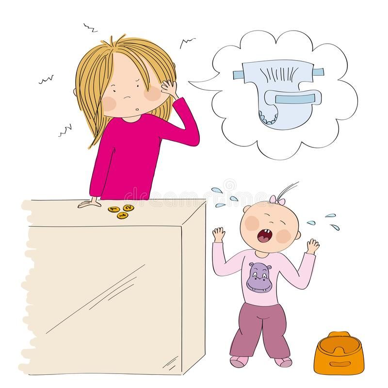 Little child / toddler girl does not want to use the pot. Her mum, young woman, is desperate, counting money to buy new diapers. Original hand drawn vector illustration
