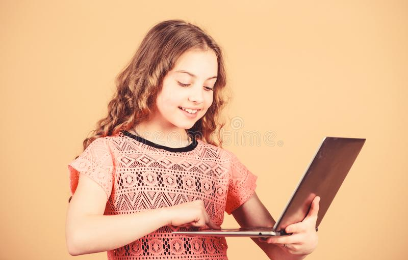 Little child using pc. Digital technology. Surfing internet. Develop own blog. Personal blog. Social networks and blog. Information source. Modern life royalty free stock images