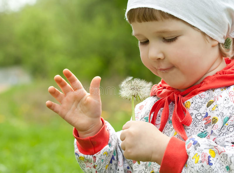 Download Little Child With White Dandelion Stock Images - Image: 25050164