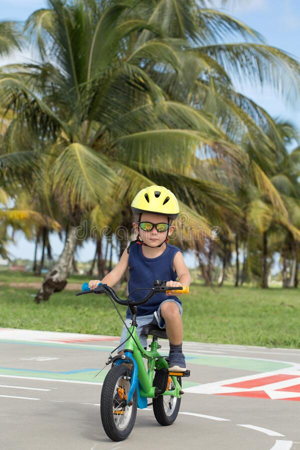 Free Little Child  With His Bike Stock Images - 216882474
