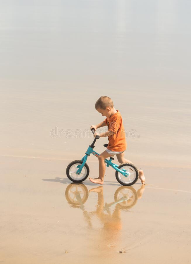 Free Little Child With His Bike Stock Photos - 216885163