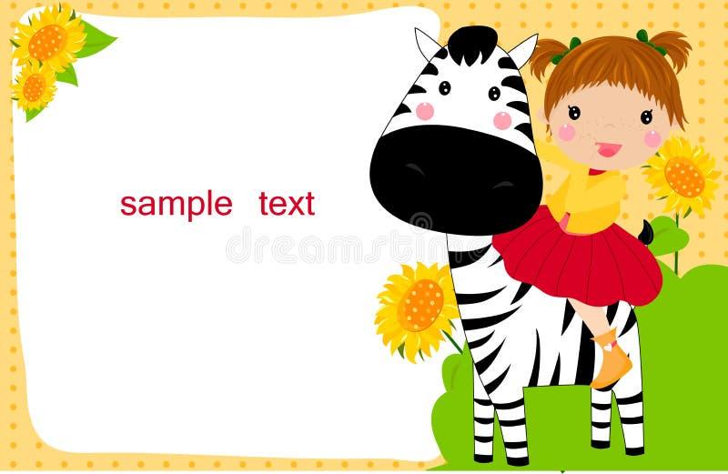 Little child on a zebra stock illustration