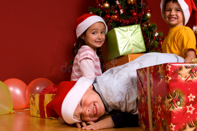 Download Little Children As Santa In Red Cap Stock Photo - Image: 7064968