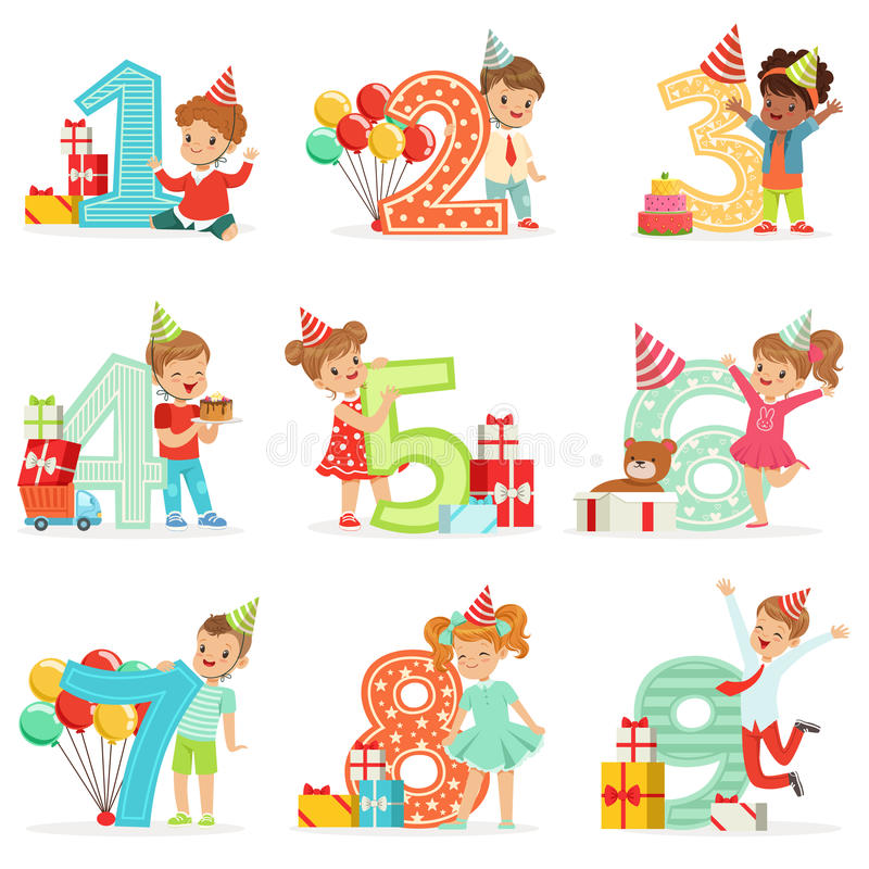 Little Children Birthday Celebration Set With Adorable Kids Standing Next To The Growing Digits Of Their Age. Happy Birthday Fun Illustrations With Toddlers vector illustration