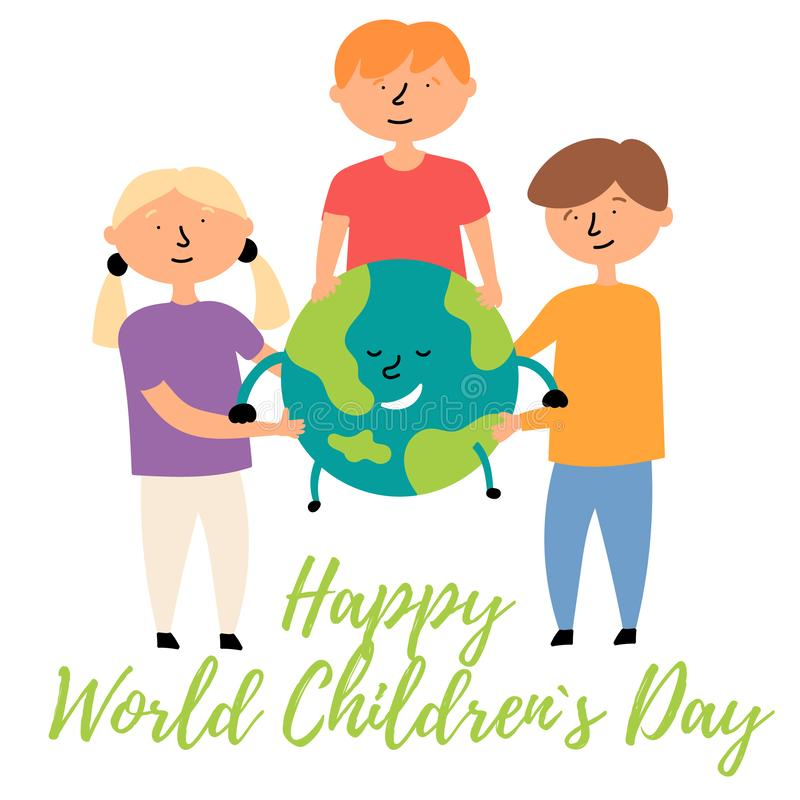 Little children of different nationalities hug planet Earth. World Children`s Day stock illustration