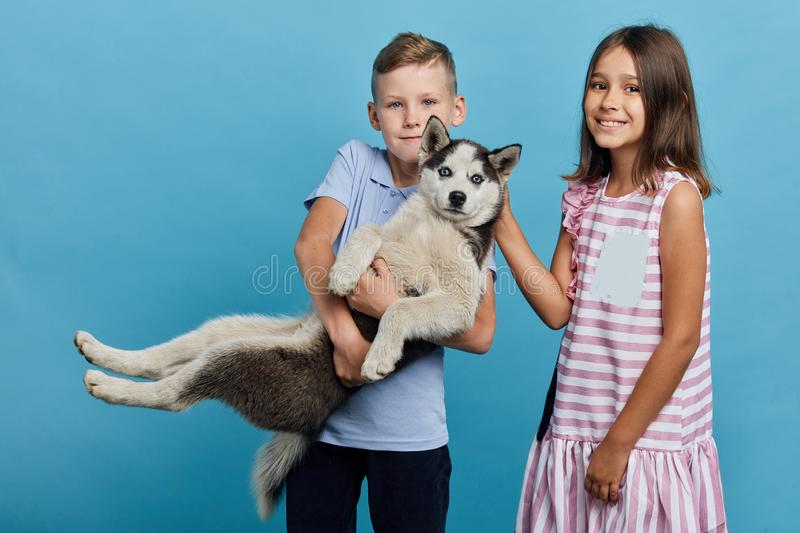 Little children going to take their sick dog to a vet royalty free stock image