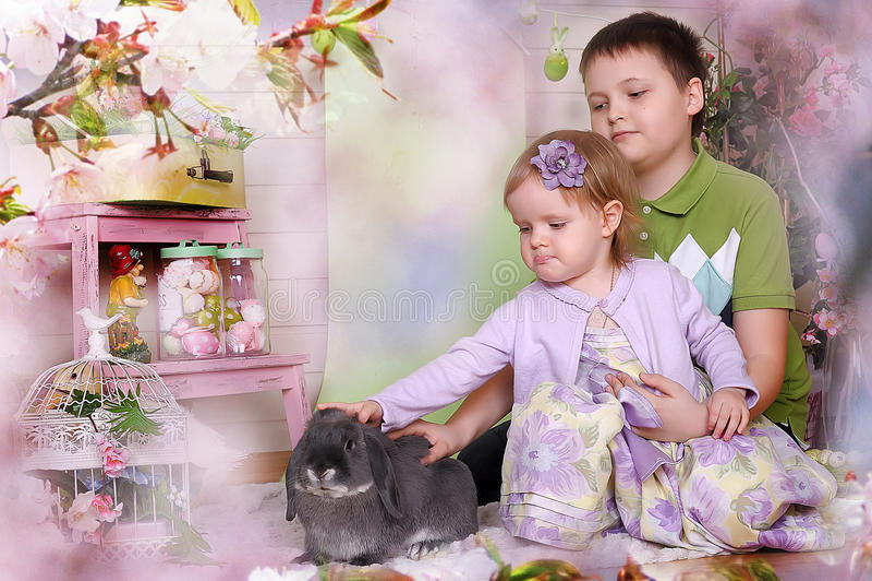 Little children with rabbit stock photo