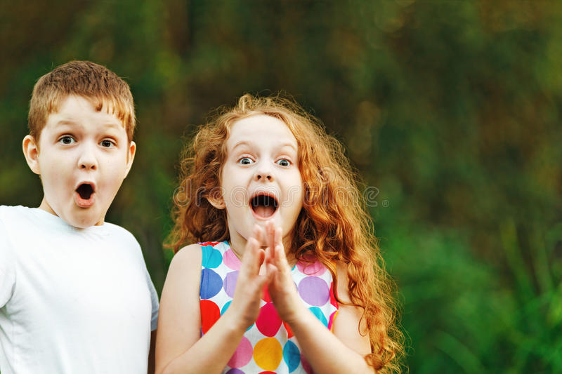 Little children smile and happy in summer outdoor. stock photo