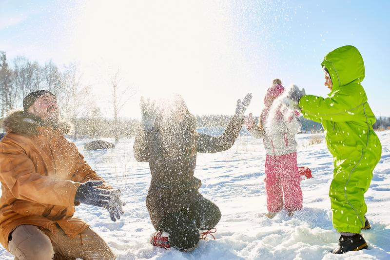 Outdoor winter activity with kids royalty free stock photos