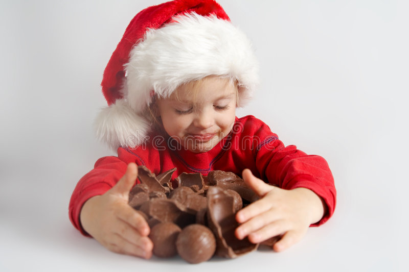 Download Little chocolate Santa stock photo. Image of girl, father - 3537038