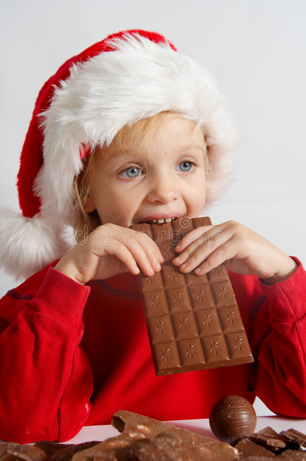 Download Little chocolate Santa stock photo. Image of girls, childhood - 3550728