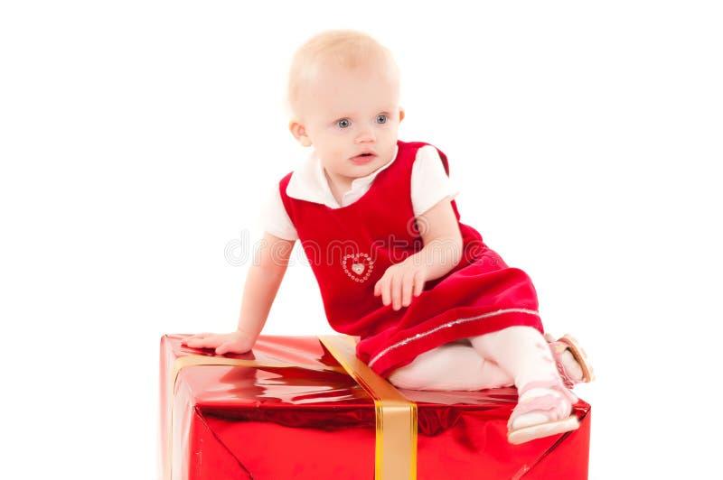 Little christmas baby-girl royalty free stock image