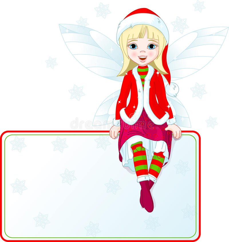 Little Christmas Fairy Place Card Stock Image