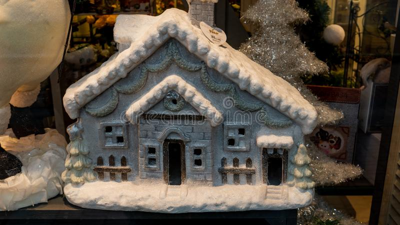 Little Christmas toy house. New Year mood stock photography