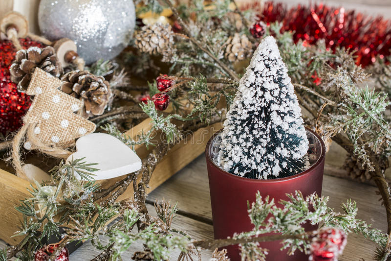 Little Christmas tree in wreath royalty free stock photography