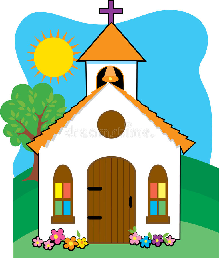 Little Church. Quaint little church in a field vector illustration