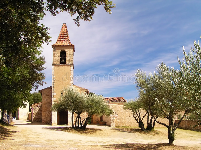 Little church in France. Little church with olive trees in France - Provence royalty free stock image