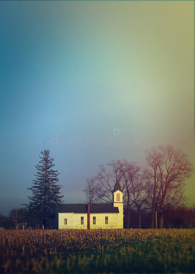 Free Little Church In The Countryside Of Iowa Before Sunset Horizontal Stock Photography - 68936002