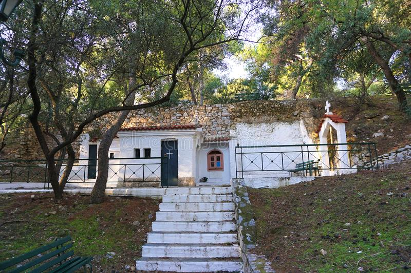 Little church in the Philopappos Hill. In Athens stock images