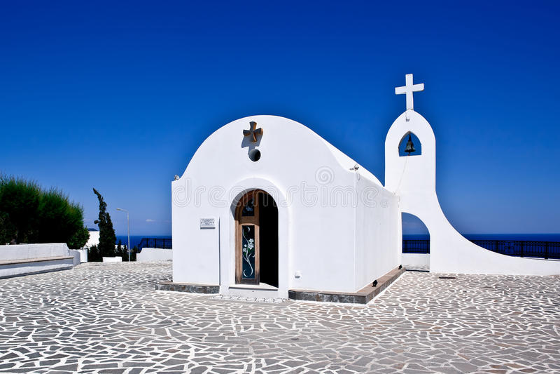Little church in Rhodes ,Greece. Little white church in Rhodes ,Greece royalty free stock photos