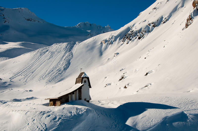 Little church on Tiefenbachgletscher stock images