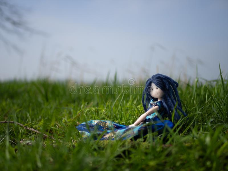 Rag doll with blue hair sitting outside in a field stock photo