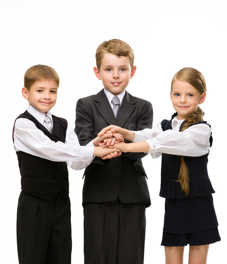 Download Little Colleagues Put Hands Together Stock Photo - Image of long, isolated: 34420398