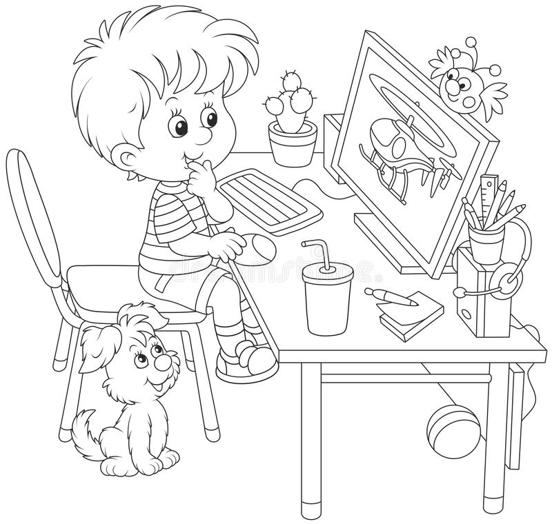 Little computer gamer. Black and white vector illustration of a boy sitting at his table in front of a computer monitor vector illustration